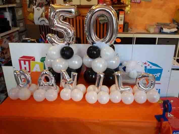 centrotavola 50 anni palloncini