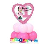 centrotavola rosa primo compleanno bimba minnie