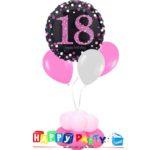 composizione 1 palloncino mylar + 3 lattice ad elio 18 anni rosa