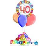 composizione 1 palloncino mylar + 3 lattice ad elio 40 anni colorati