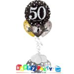 composizione 1 palloncino mylar + 3 lattice ad elio 50 anni