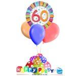 composizione 1 palloncino mylar + 3 lattice ad elio 60 anni colorati