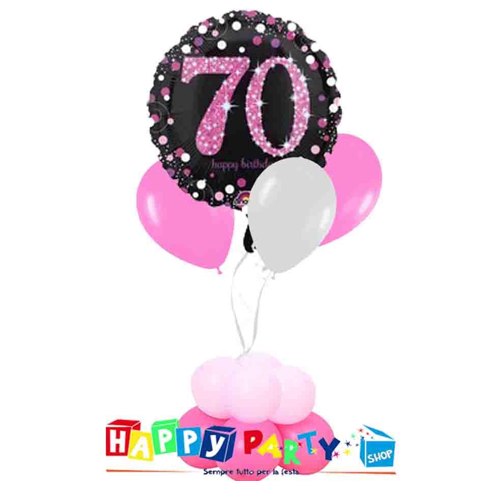composizione 1 palloncino mylar + 3 lattice ad elio 70 rosa