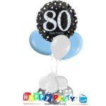 composizione 1 palloncino mylar + 3 lattice ad elio 80 anni
