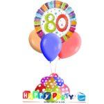 composizione 1 palloncino mylar + 3 lattice ad elio 80 anni colorati