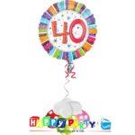 composizione 1 palloncino mylar 40 anni colorato