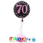 composizione 1 palloncino mylar 70 anni rosa
