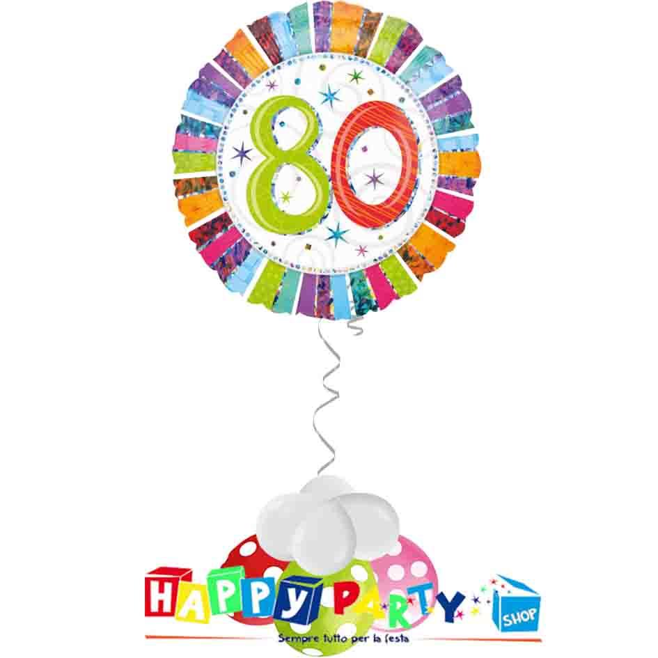 composizione 1 palloncino mylar 80 anni colorato