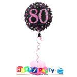 composizione 1 palloncino mylar 80 anni rosa
