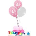 composizione 3 palloncini lattice ad elio battesimo rosa