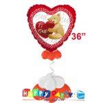 composizione palloncino cuore rosso orsetto 90cm