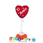 composizione palloncino cuore rosso ti amo
