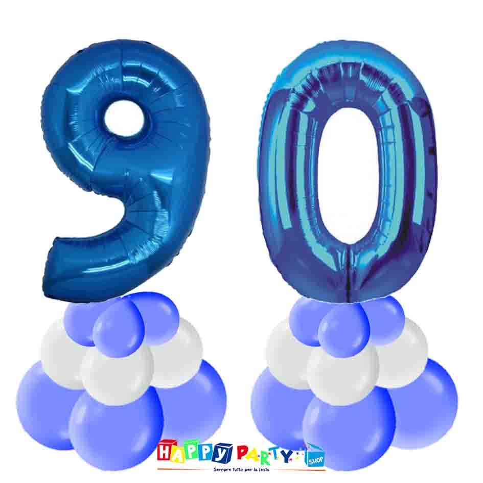 centrotavola palloncini numeri mylar 90 anni blu