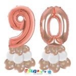 centrotavola palloncini numeri mylar 90 anni rosa gold