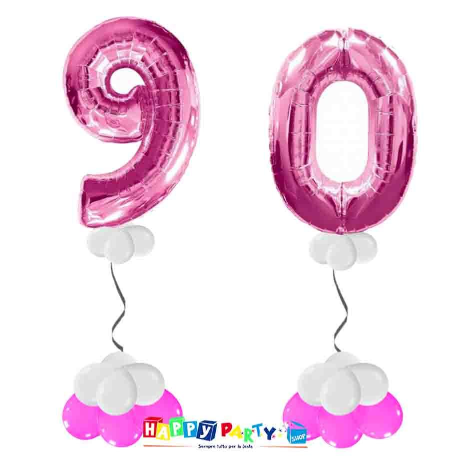 palloncini BASE da terra numeri 100cm 90 anni fuxia