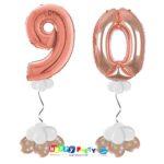 palloncini BASE da terra numeri 100cm 90 anni rosa gold